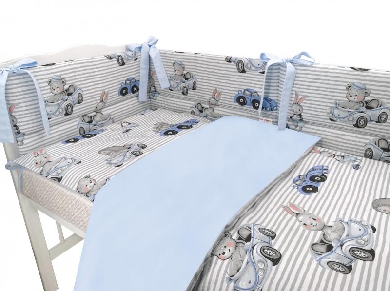 BABY NELLYS 3-dílná sada Mantinel s povlečením, Baby Car - modrá, 135 x 100 cm