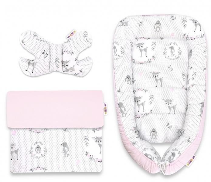 Baby Nellys Sada komplet, oboustranné hnízdečko 55 x 85 cm, Koloušek - růžový