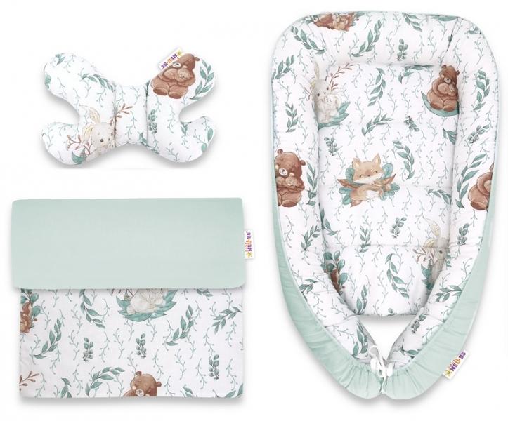 Baby Nellys Sada komplet, oboustranné hnízdečko 55 x 85 cm, LULU natural - mátová