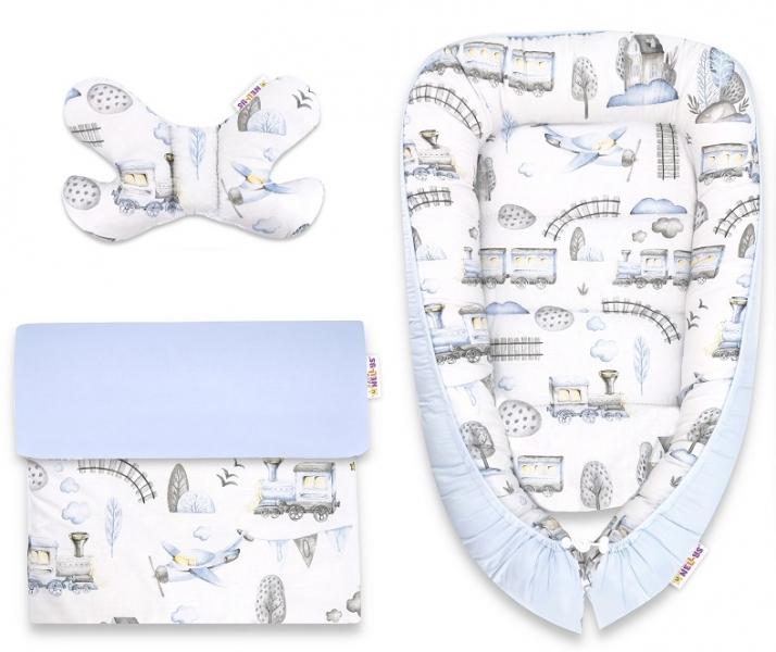 Baby Nellys Sada komplet, oboustranné hnízdečko 55 x 85 cm, Vláček - modrá