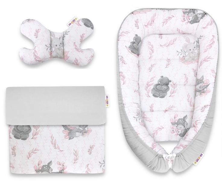 Baby Nellys Sada komplet, oboustranné hnízdečko 55 x 85 cm, LULU natural - růžová