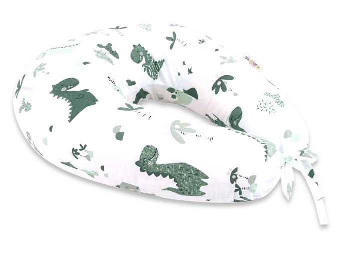 Baby Nellys Bavlněný kojící polštář - Dino, zelená, bílá