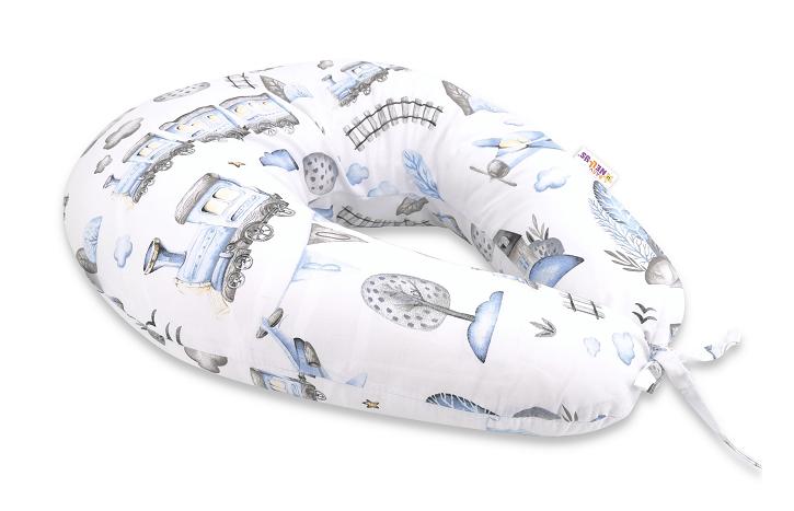 Baby Nellys Bavlněný kojící polštář - Vláček, modrá