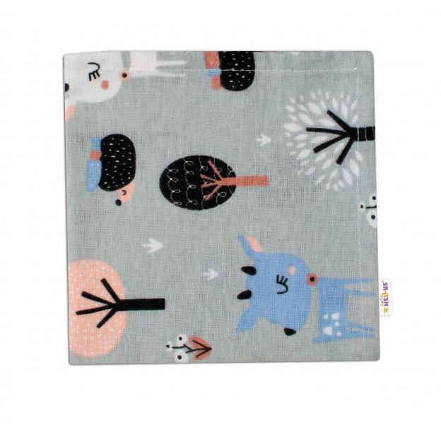 Baby Nellys Mini flanelová plenka 37x37 cm -  Srnečci, šedá