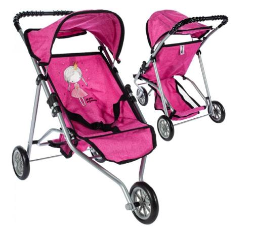 Sportovní kočárek pro panenky Princess - růžový