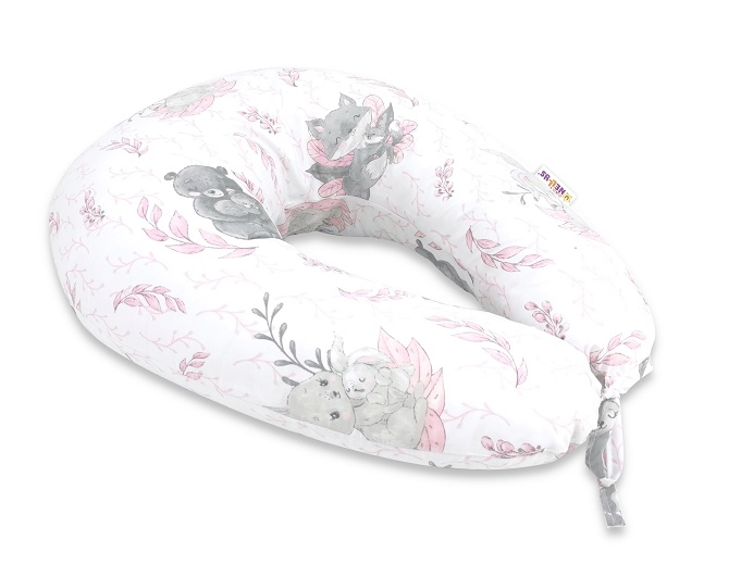 Baby Nellys Bavlněný kojící polštář, LULU natural, růžová