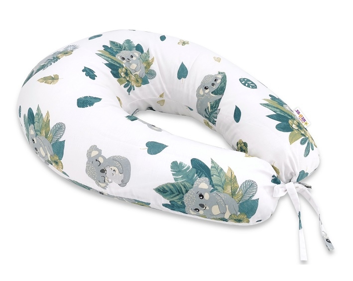 Baby Nellys Bavlněný kojící polštář, Tropical Koala, zelená, bílá