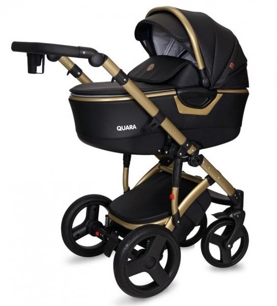 Kočárek Coto Baby 2 v 1 QUARA Eco 2021 - černý/gold