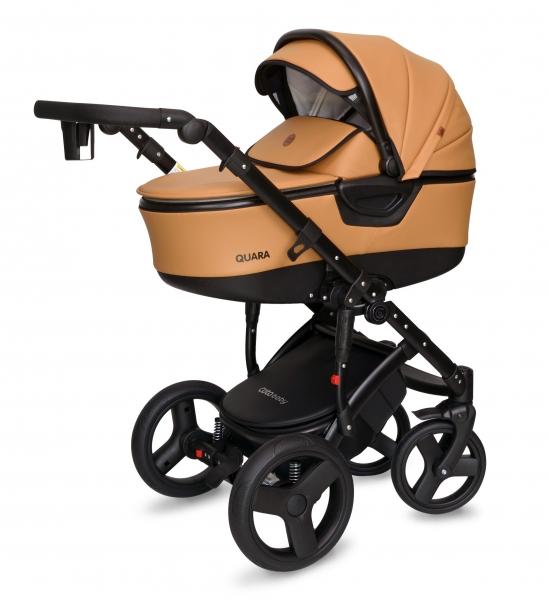 Kočárek Coto Baby 2 v 1 QUARA Eco 2021 - karamel, černý