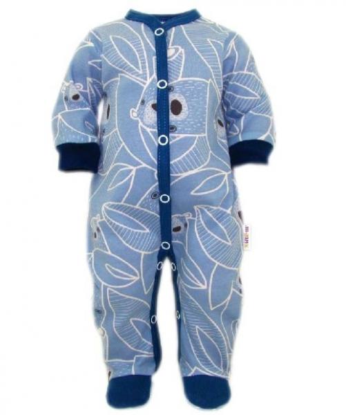 Baby Nellys Overálek Medvídek, zapínání uprostřed, modrá
