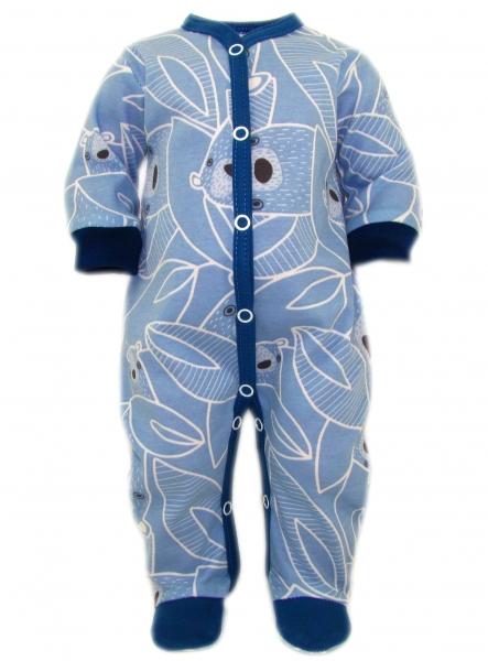 Baby Nellys Overálek Medvídek, zapínání uprostřed, modrá, vel. 74