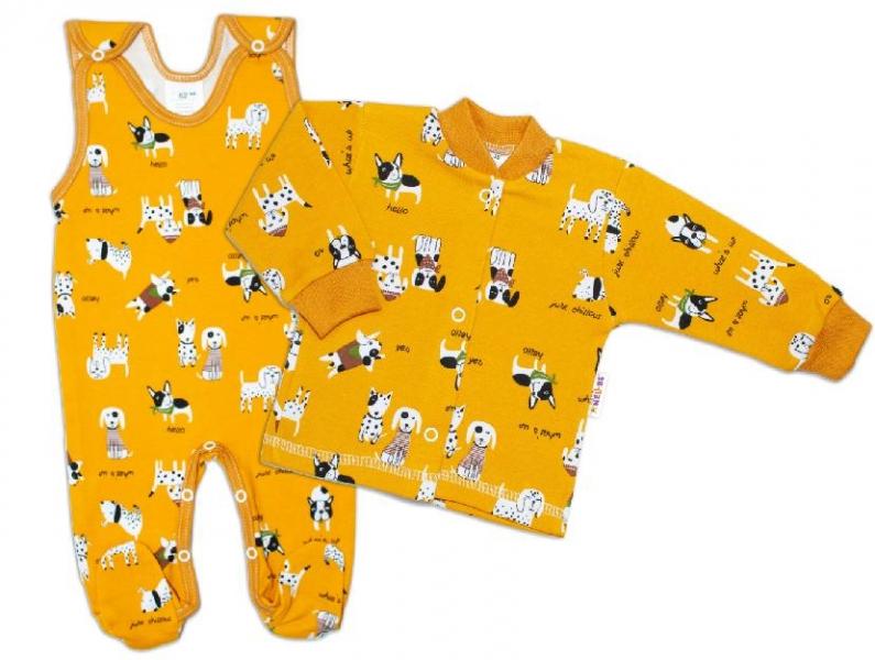 Baby Nellys  2-dílná sada, bavlněné dupačky s košilkou Pejsek Hello, hořčicová