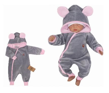 Z&Z Velurový kojenecký overálek s kapucí a oušky - šedo,růžový, vel. 80