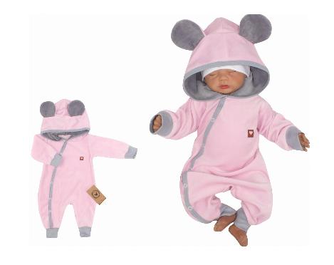 Z&Z Velurový kojenecký overálek s kapucí a oušky - růžovo,šedý