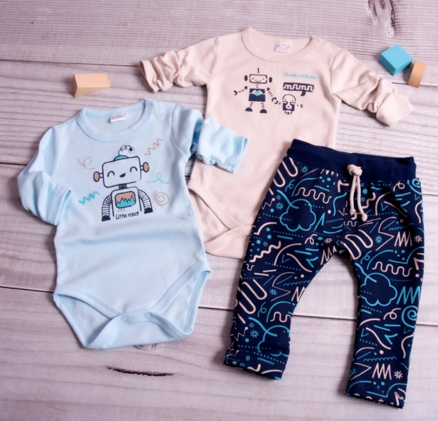 K-Baby 3-dílná sada - 2xbody dl. rukáv,tepláčky, New Robot Baby, béžová,sv. modrá, vel. 68