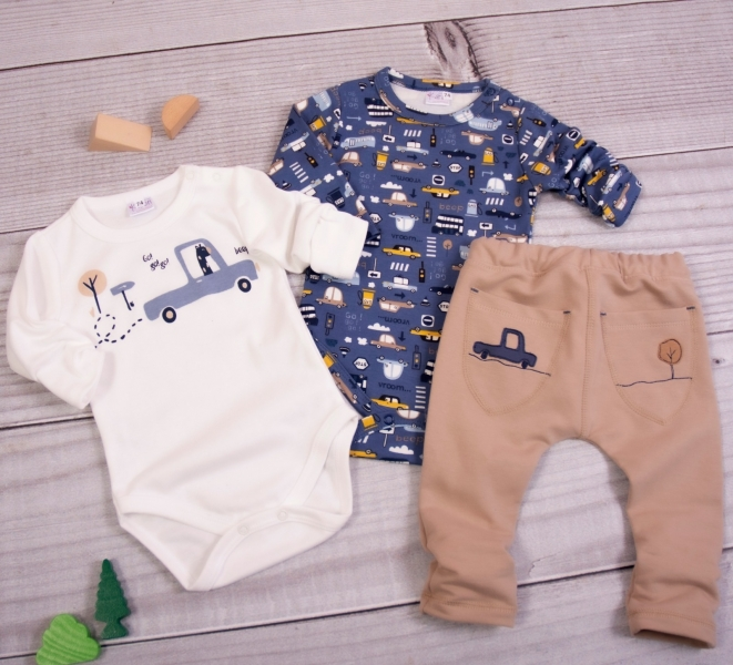 K-Baby 3-dílná sada - 2x body dl. rukáv,tepláčky, New Car Baby, modrá, ecru, vel. 68