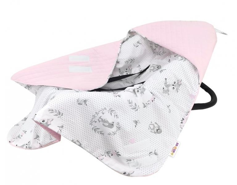 Baby Nellys Oteplená zavinovací deka s kapucí Velvet, 90 x 90 cm, Koloušek - růžová