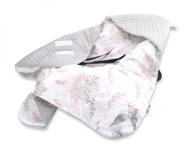 Baby Nellys Oteplená zavinovací deka s kapucí Velvet, 90 x 90cm, LULU natural, růžová/šedá