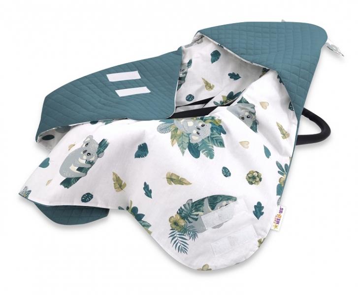 Baby Nellys Oteplená zavinov. deka s kapucí Velvet, 90x90cm, Tropical Koala - zelená,bílá