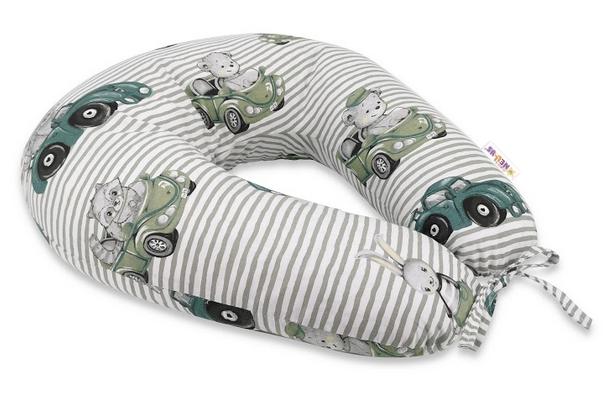 Baby Nellys Bavlněný kojící polštář, Baby Car - zelená