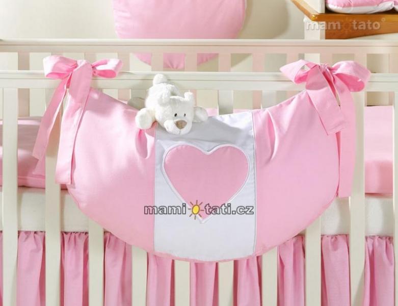 Luxusní kapsář na hračky - Růžový s růžovým srdíčkem