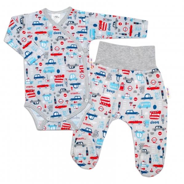 Baby Nellys  2-dílná sada, body dl.rukáv zap. bokem + polodupačky, Auta, šedá, vel. 62