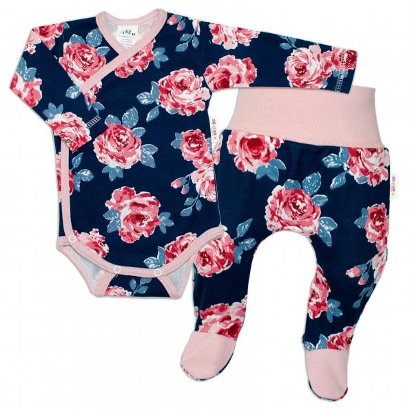 Baby Nellys 2-dílná sada, body dl.rukáv zap. bokem + polodupačky Růže, pudrová/granát