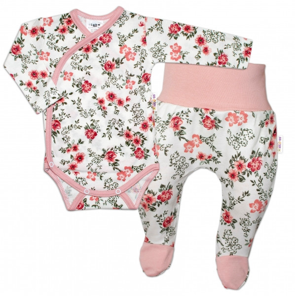 Baby Nellys 2-dílná sada, body dl.rukáv zap. bokem + polodupačky Růžička, pudrová/ecru