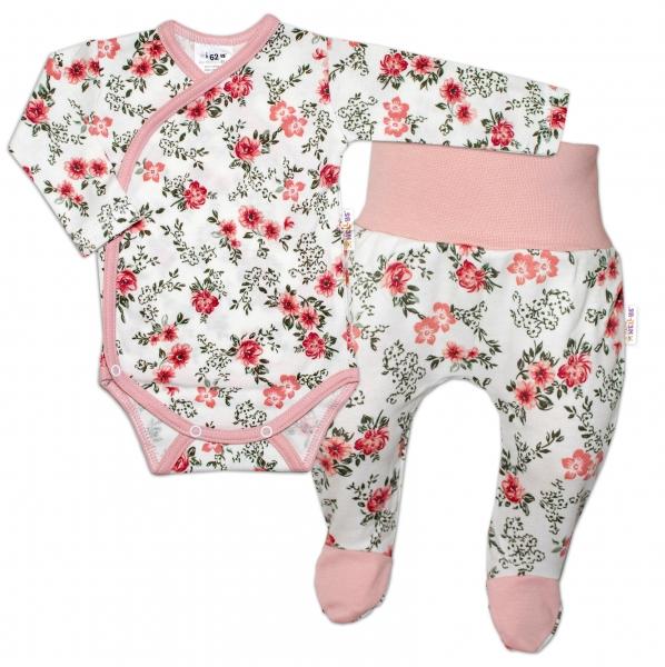 Baby Nellys 2-dílná sada, body dl.rukáv + polodupačky Růžička, pudrová/ecru, vel. 68
