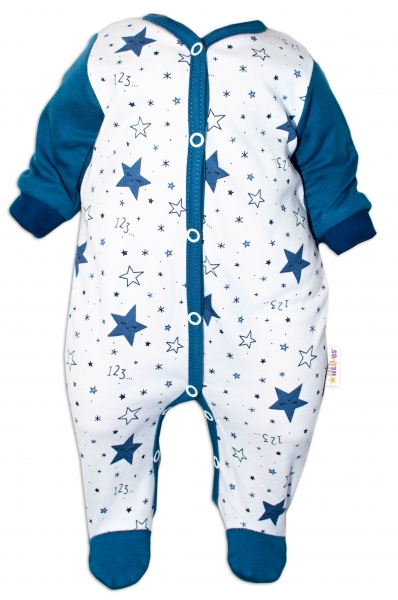 Baby Nellys Overálek Galaxie, zapínání uprostřed, bílá/granát, vel. 56