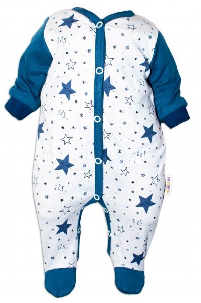 Baby Nellys Overálek Galaxie, zapínání uprostřed, bílá/granát, vel. 62