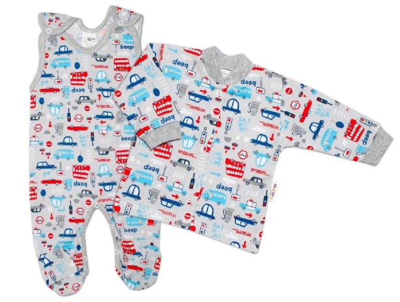 Baby Nellys  2-dílná sada, bavlněné dupačky s košilkou Auta, šedá