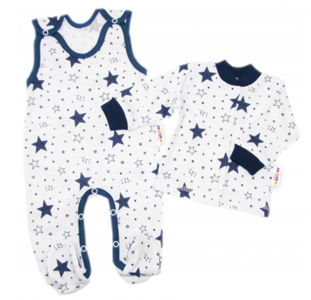 Baby Nellys  2-dílná sada, bavlněné dupačky s košilkou Galaxie, bílá/granát, vel. 62