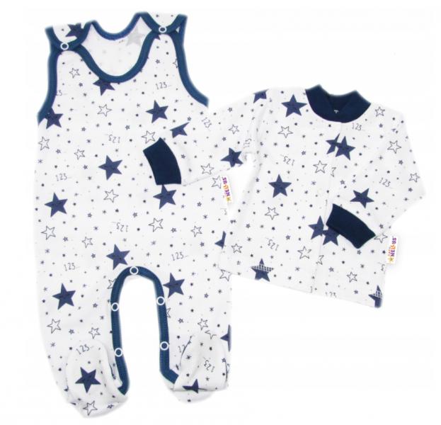 Baby Nellys  2-dílná sada, bavlněné dupačky s košilkou Galaxie, bílá/granát, vel. 68