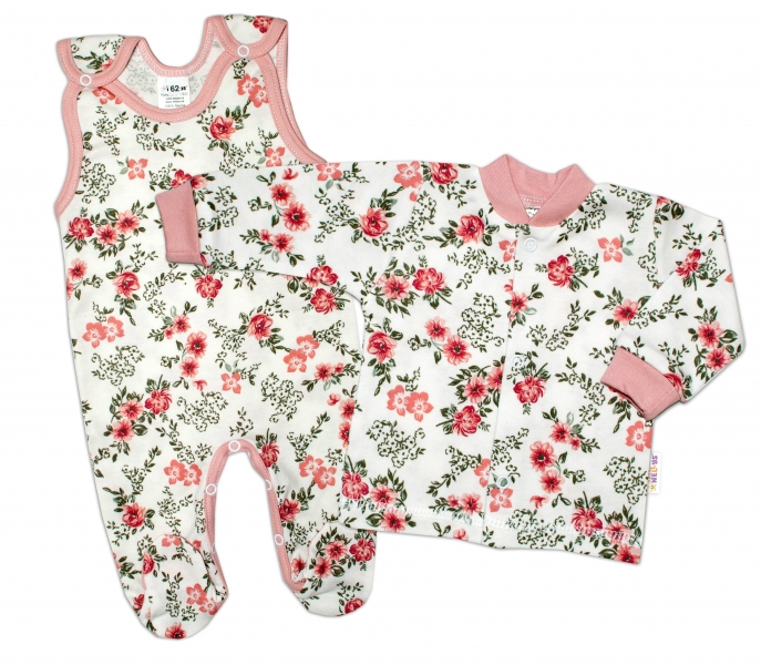Baby Nellys  2-dílná sada, bavlněné dupačky s košilkou Růžičky, pudrová/ecru, vel. 68