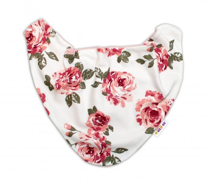 Baby Nellys Dětský šátek na krk Růže, pudrový/ecru