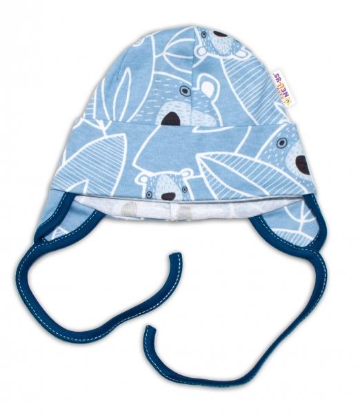 Baby Nellys Bavlněná čepička s oušky na zavazování - Medvídek, modrá