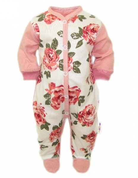 Baby Nellys Overálek Růže, zapínání uprostřed, pudrová/ecru, vel. 56, Velikost: 56 (1-2m)