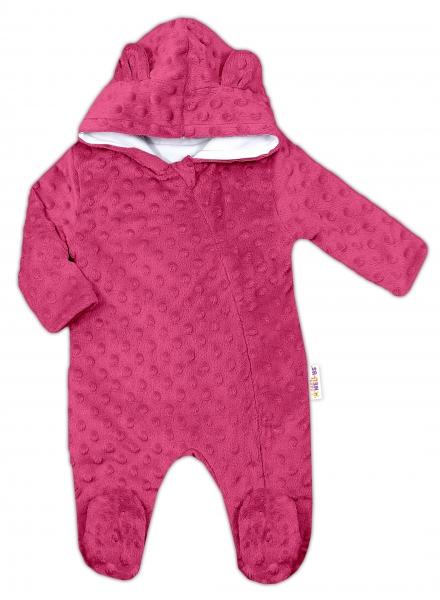 Baby Nellys Kombinézka/overálek MINKY s kapucí a oušky - sytě růžová, vel. 62