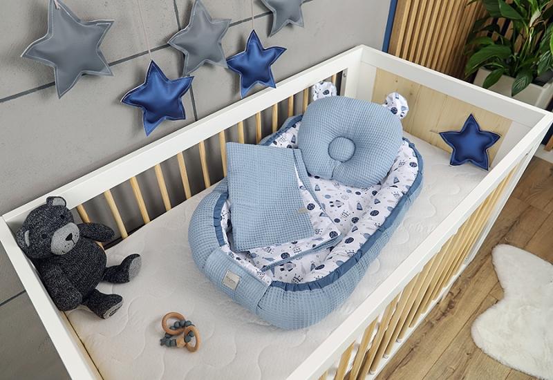 Baby Nellys Sada komplet oboustranné hnízdečko Vafel, 60 x 90 cm - Vesmír, modrá