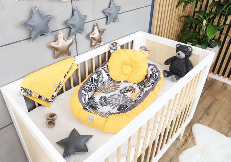 Baby Nellys Sada komplet oboustranné hnízdečko Vafel, 60 x 90 cm - Listy, žlutá