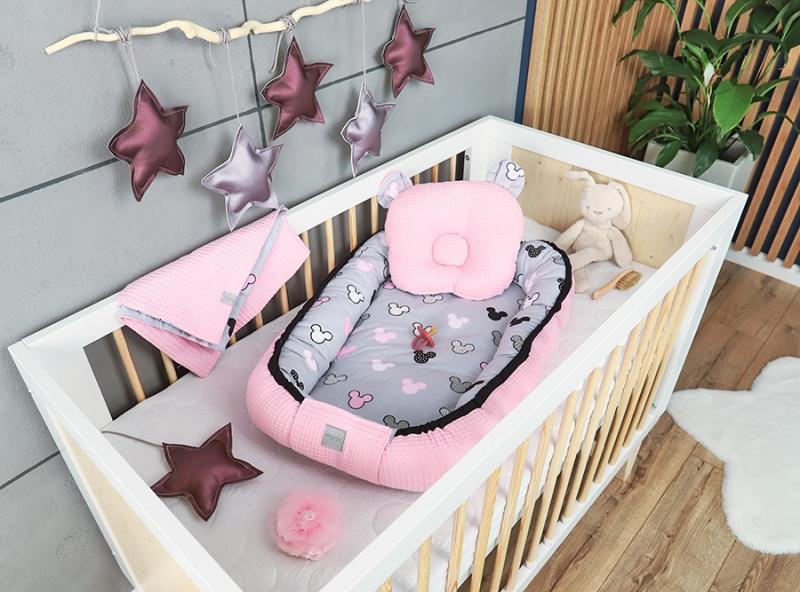 Baby Nellys Sada komplet oboustranné hnízdečko Vafel, 60 x 90 cm - Mickey, růžová, šedá