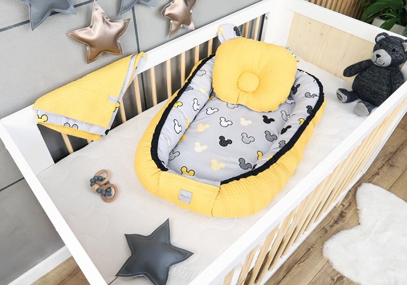 Baby Nellys Sada komplet oboustranné hnízdečko Vafel, 60 x 90 cm - Mickey, žlutá, šedá
