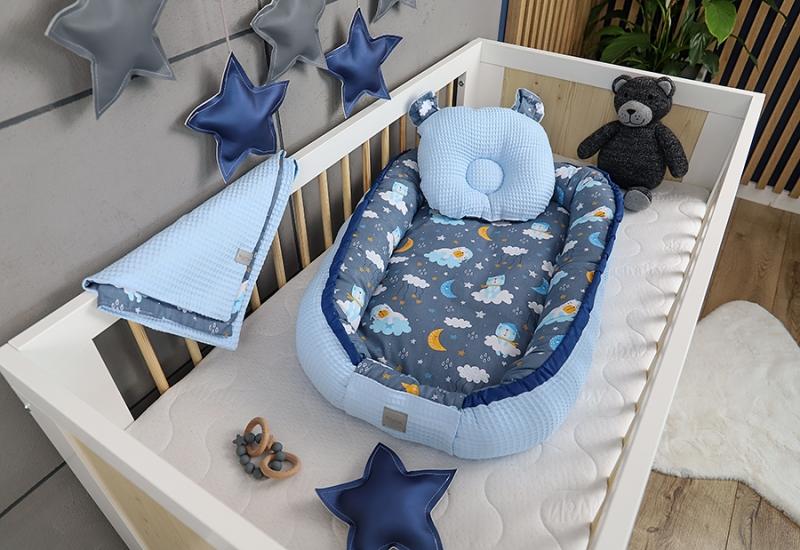 Baby Nellys Sada komplet oboustr. hnízdečko Vafel, 60 x 90 cm - Medvídek na mráčku, modrá