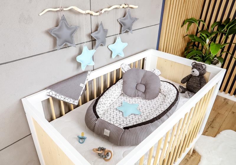 Baby Nellys Sada komplet oboustr. hnízdečko Vafel, 60 x 90 cm - Kostky, šedá, bílá