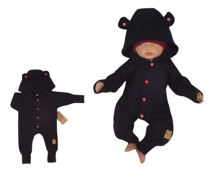 Z&Z Dětský teplákový overálek s knoflíčky a kapucí, černý, vel. 62, Velikost: 62 (2-3m)