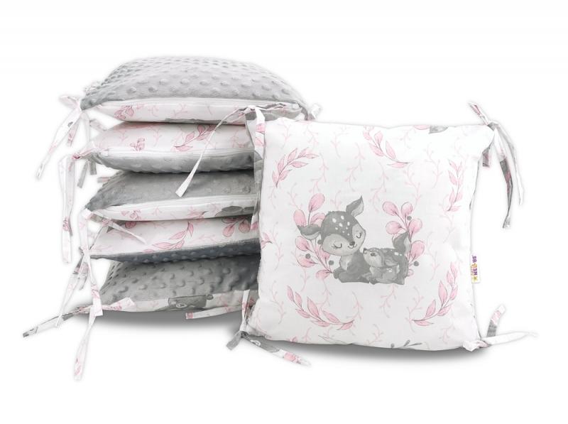 Polštářkový mantinel Baby Nellys, LULU natural, minky - růžová, šedá