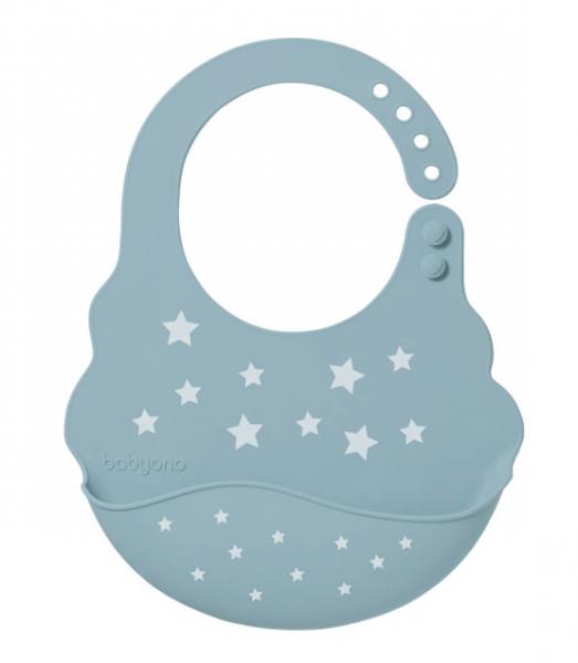 BabyOno Silikonový bryndák - Hvězdičky, modrý , 6 m+