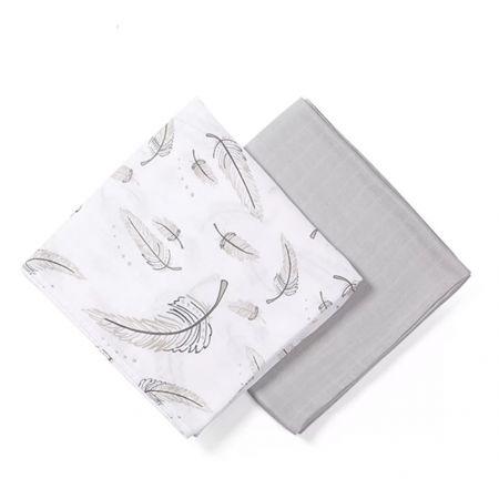 BabyOno Bambus/Mušelín, plenky - muchláček, 2ks v dárkové krabičce, sv. šedá/bílá, 0 m+
