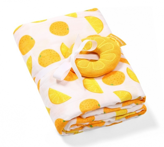 BabyOno Bambus/Mušelín Pomeranč - plenka - muchláček + chrastítko oranžová/bílá, 0 m+